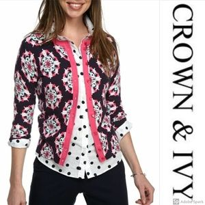 Crown & Ivy Cardigan Button Up Navy Fuchsia XS S
